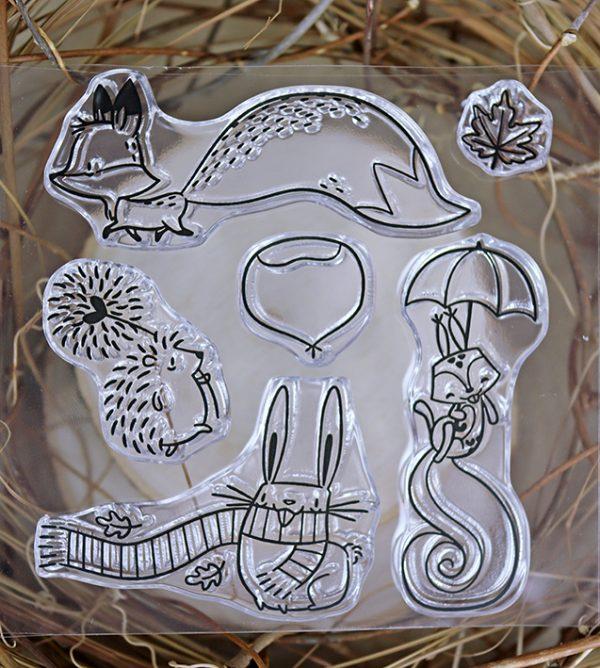 set de sellos toma castana animales del bosque