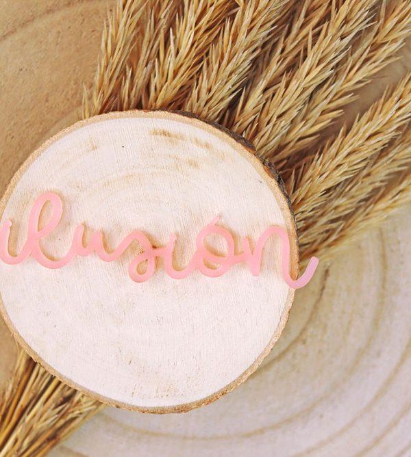 adorno palabra ilusión metacrilato rosa golpinoautunno