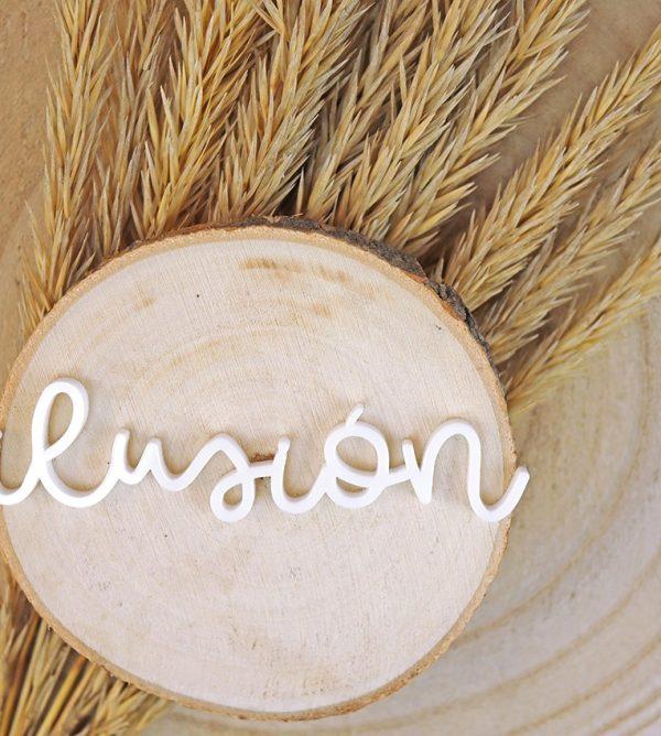 adorno palabra ilusión metacrilato blanco golpinoautunno