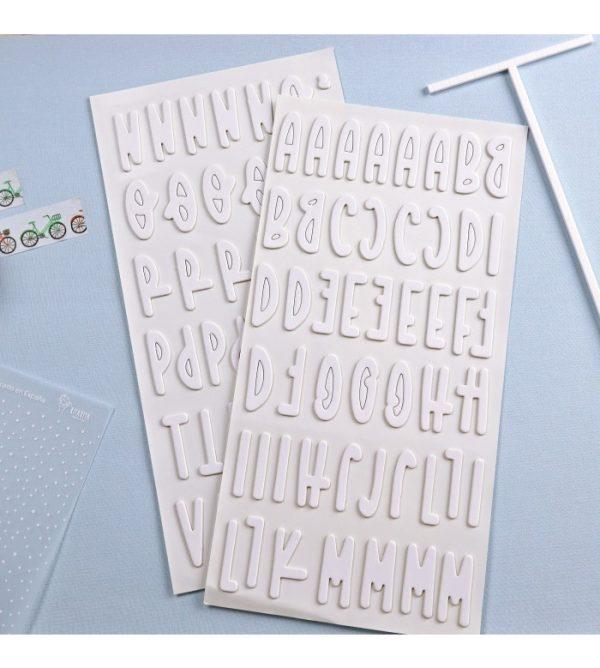 pegatinas chipboard alfabeto en blanco