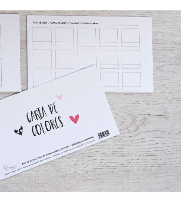 Kit de 30 fichas para personalizar carta de colores