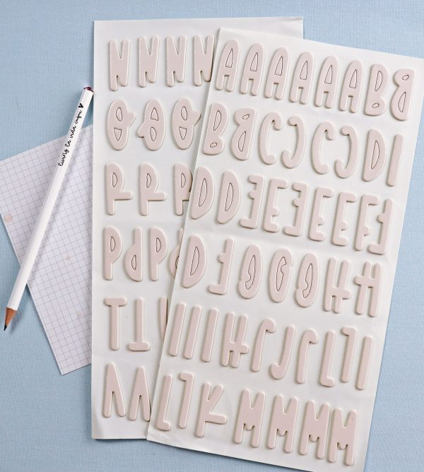 pegatinas chipboard alfabeto en rosa bebe