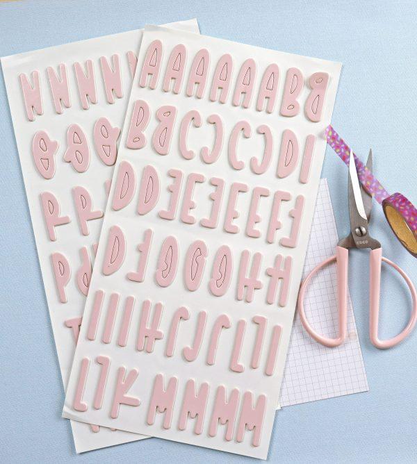 pegatinas chipboard alfabeto en rosa bailarina