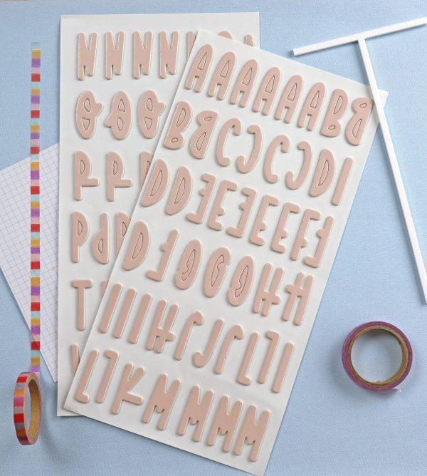 pegatinas chipboard alfabeto en salmon