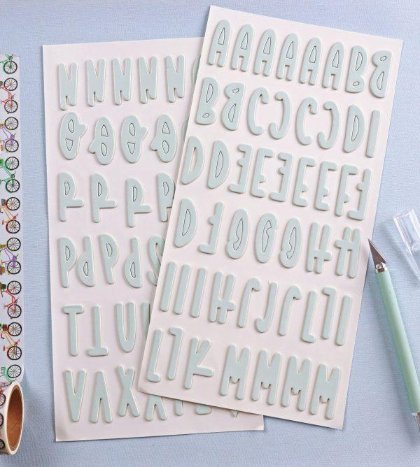 pegatinas chipboard alfabeto en menta