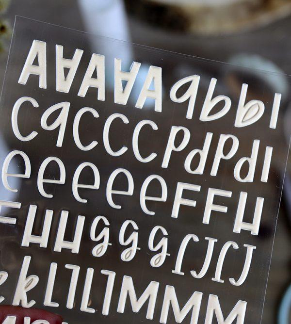 Pegatinas puffy alfabeto Mostaza colección Mazapán